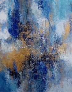 Abstract painting with blue, golds by Paul Ygartua